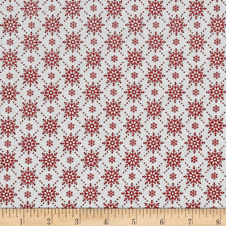Christmas Wishes Snowfall Snow Holiday Red Fabric By The Yard