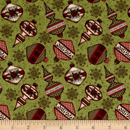 Christmas Wishes Tossed Ornaments Olive Fabric By The Yard