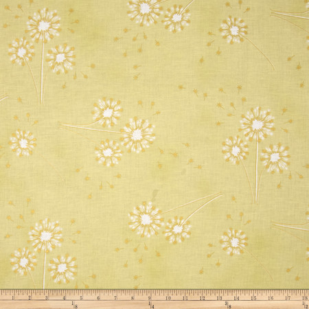 Clarabelle Metallic Dandelion Watercress/Gold Fabric By The Yard