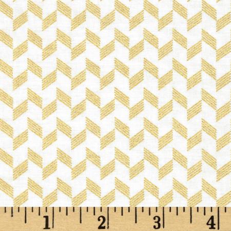 Clarabelle Metallic Zig Zag Jasmine/Gold Fabric