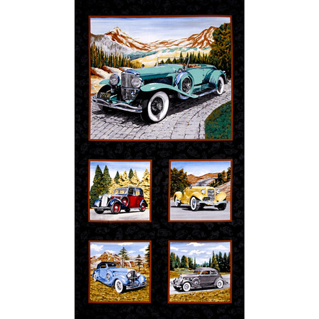Classic Cottons Classic Cars 24'' Panel Multi Fabric