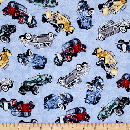 Classic Cottons Classic Cars Allover Blue Fabric