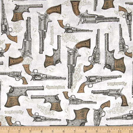 Classic Remington Guns Grey Fabric By The Yard