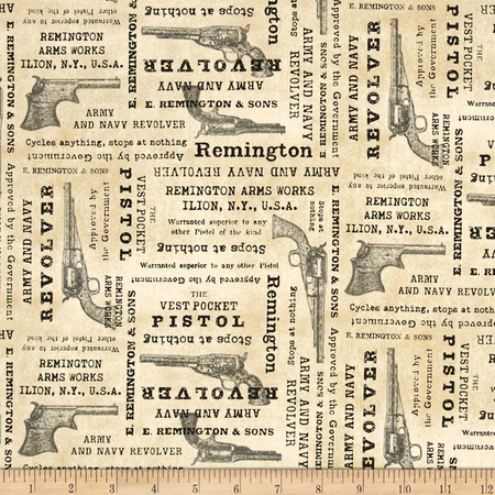 Classic Remington Words Cream Fabric By The Yard