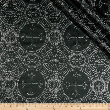 Clergy Metallic Brocade Black/Silver Fabric