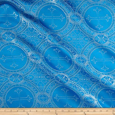 Clergy Metallic Brocade Turquoise/Silver Fabric