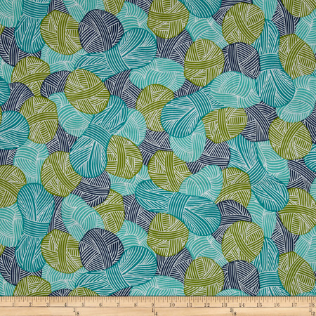 Cloud 9 Orangics Wound Up Blue Fabric By The Yard