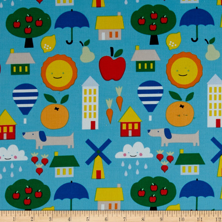 Cloud 9 Organic Corduroy Small World Blue Fabric
