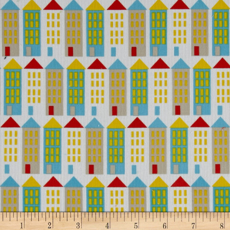 Cloud 9 Organic Corduroy Small World City Streets Fabric By The Yard