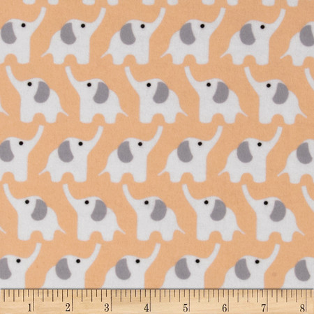 Cloud 9 Organic Fanfare Flannel Elephants Pink Fabric