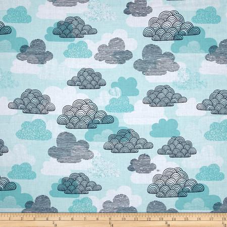Cloud 9 Organic First Light Passing Clouds Blue Fabric