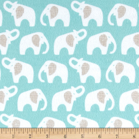Cloud 9 Organic Flannel Elephants Turquoise Fabric