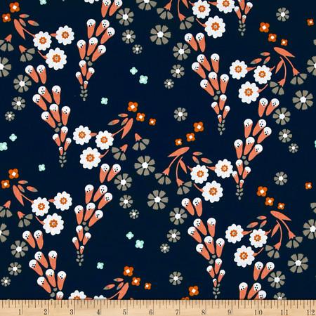 Cloud 9 Organic Foxglove Navy Fabric By The Yard