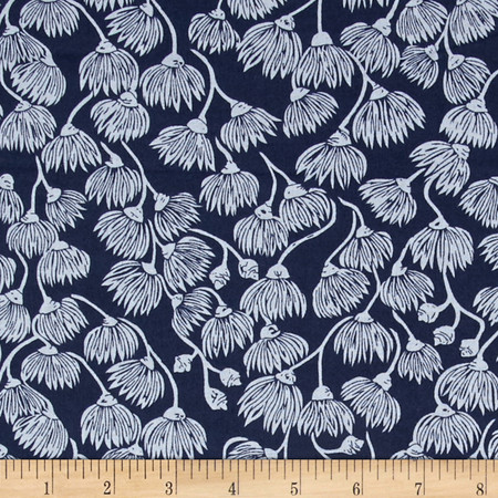Cloud 9 Organic Landscape White Mallee Navy Fabric By The Yard
