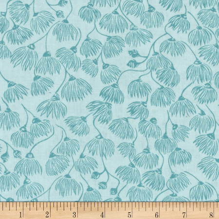 Cloud 9 Organic Landscape White Mallee Turquoise Fabric By The Yard