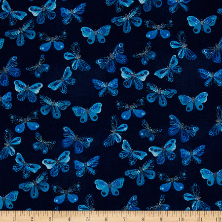 Cloud 9 Organic Moody Blues Butterflies Navy Fabric