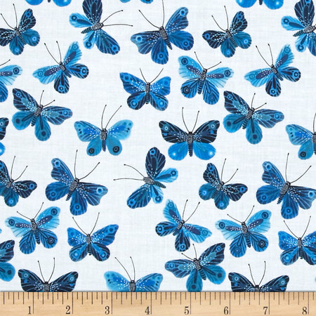 Cloud 9 Organic Moody Blues Voile Butterflies Fabric By The Yard