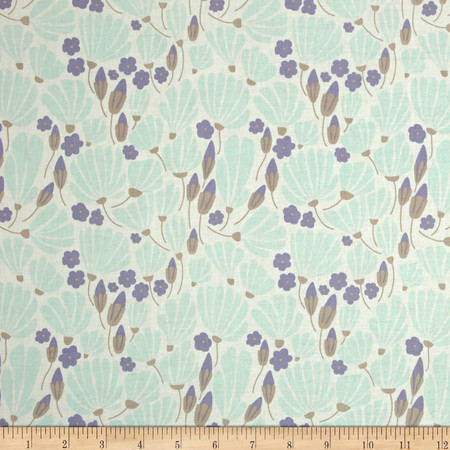 Cloud 9 Organic Morning Song Breezy Floral Turquoise Fabric