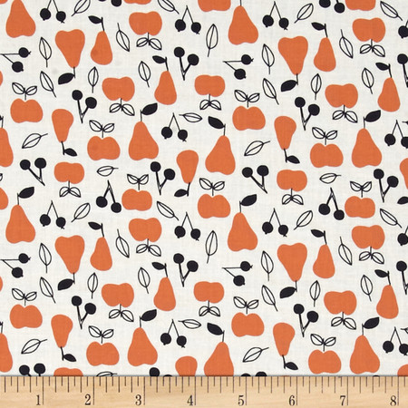 Cloud 9 Organic Sweet Autumn Day Apple and Pear Red Fabric