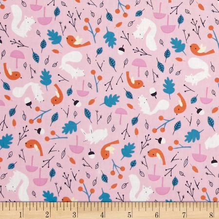 Cloud 9 Organic Sweet Autumn Day Forest Friends Pink Fabric