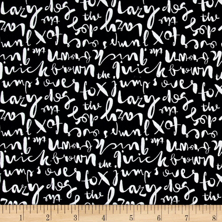 Cloud 9 Organic Typography Script Black Fabric By The Yard