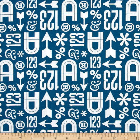Cloud 9 Organic Typography Wood Type Teal Fabric By The Yard