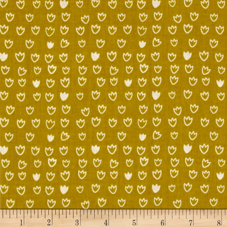 Cloud 9 Organic Vignette Tulip Citron Fabric