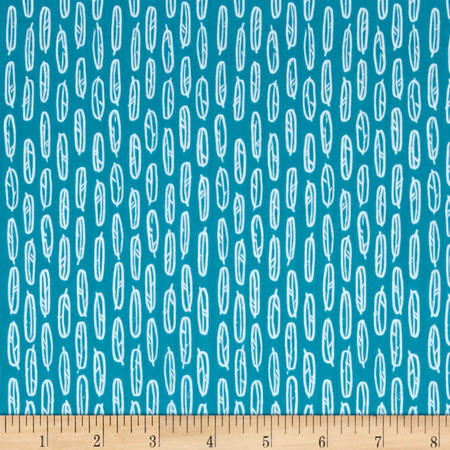 Cloud 9 Organics Yoyogi Park Feather Leaf Teal Fabric