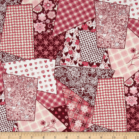 Collage Burgundy Fabric