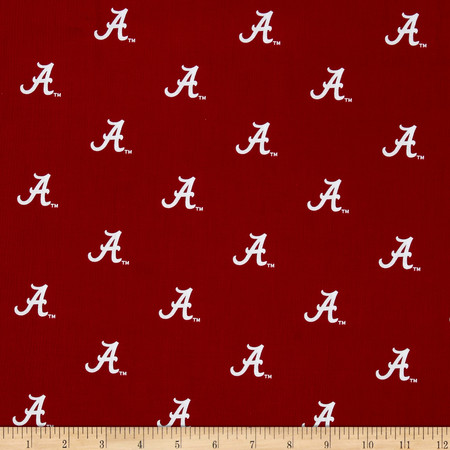 Collegiate Cotton Broadcloth University of Alabama Crimson/White Fabric By The Yard