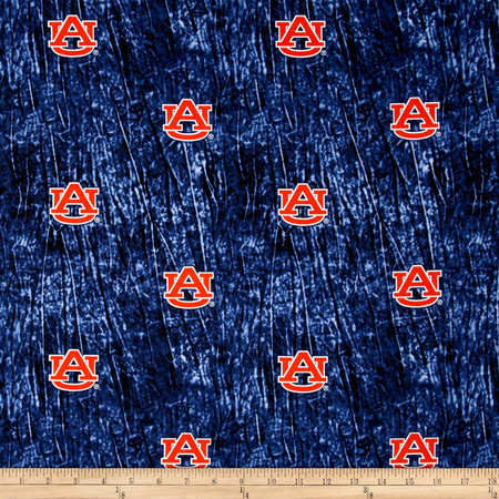 Collegiate Cotton Broadcloth Auburn University Tie Dye Print Navy Fabric By The Yard