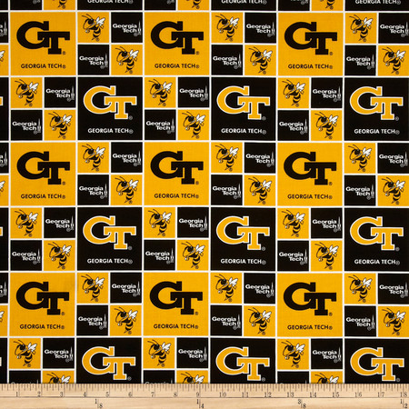 Collegiate Cotton Broadcloth Georgia Tech Fabric By The Yard
