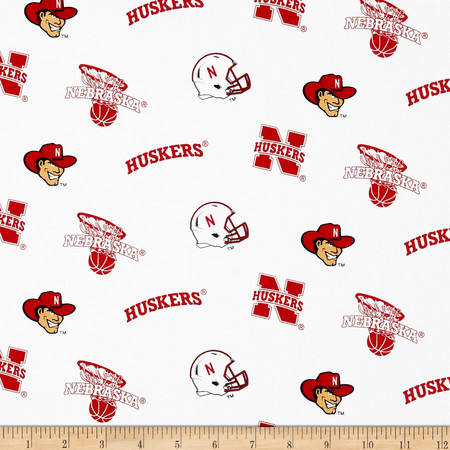 Collegiate Cotton Broadcloth University of Nebraska Fabric