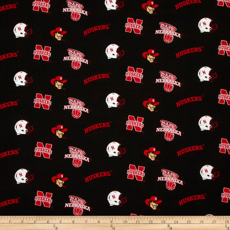 Collegiate Cotton Broadcloth University of Nebraska Fabric By The Yard