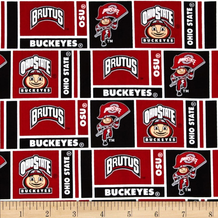 Collegiate Cotton Broadcloth Ohio State University Fabric By The Yard
