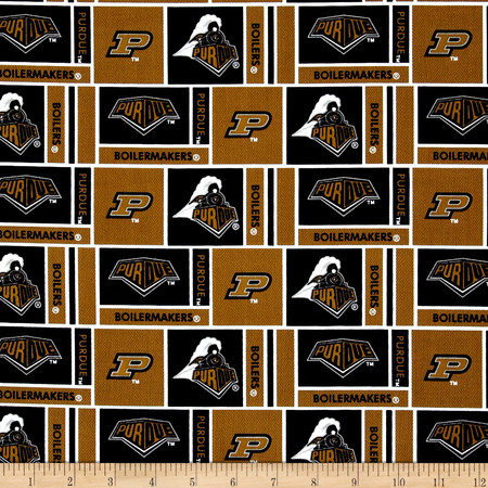 Collegiate Cotton Broadcloth Purdue University Gold Fabric