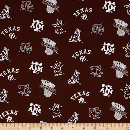 Collegiate Cotton Broadcloth Texas A&M Fabric By The Yard