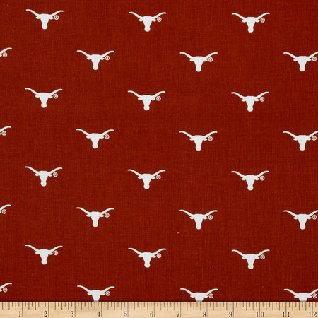Collegiate Cotton Broadcloth University of Texas Bevo Fabric By The Yard