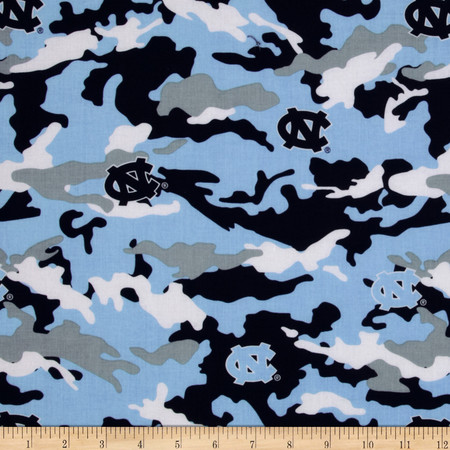 Collegiate Cotton Broadcloth Univeroty of North Carolina Camo Fabric By The Yard