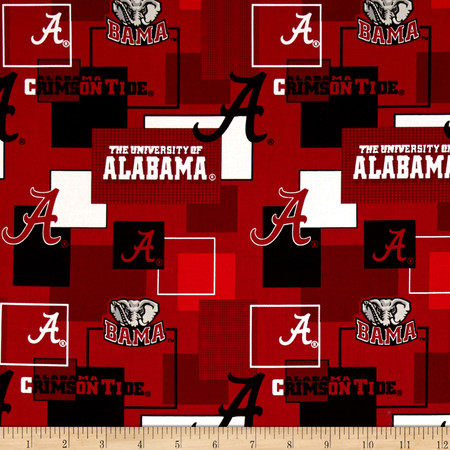 Collegiate Cotton Broadcloth University Of Alabama Block Print Red Fabric By The Yard