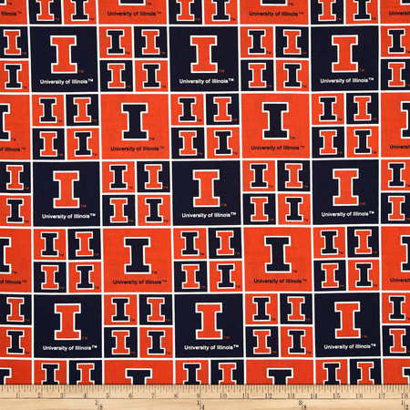 Collegiate Cotton Broadcloth University of Illinois Orange Fabric By The Yard