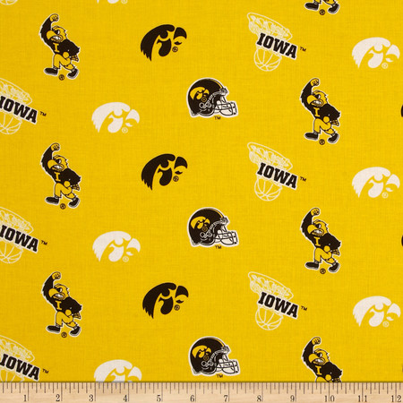 Collegiate Cotton Broadcloth University of Iowa Old Gold Fabric By The Yard