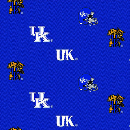 Collegiate Cotton Broadcloth University of Kentucky Allover Blue Fabric By The Yard
