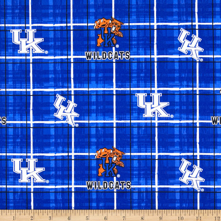 Collegiate Cotton Broadcloth University of Kentucky Plaid Blue Fabric By The Yard