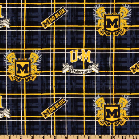 Collegiate Cotton Broadcloth University of Michigan Plaid Blue Fabric