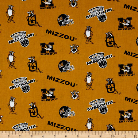 Collegiate Cotton Broadcloth University of Missouri Gold Fabric By The Yard