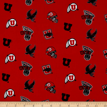 Collegiate Cotton Broadcloth University of Utah Red Fabric