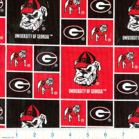 Collegiate Cotton Broadcloth University of  Georgia Bulldogs Fabric By The Yard