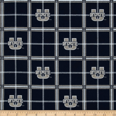 Collegiate Cotton Broadcloth Utah State University Allover Plaid Fabric By The Yard