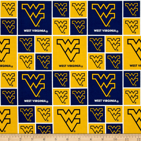 Collegiate Cotton Broadcloth West Virginia University Yellow Fabric By The Yard
